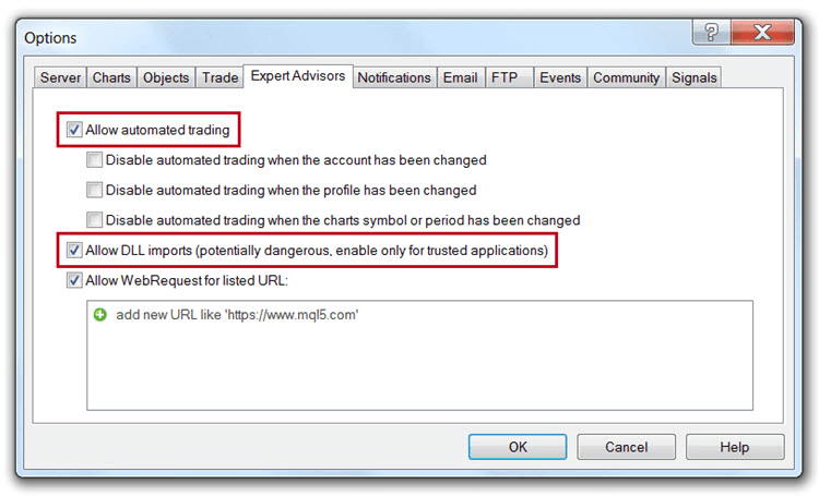 Allow Automated Trading